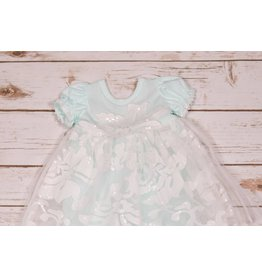Bebe Gabrielle Mint Gown with White Eyelet Lace Headband and Sequins  NB