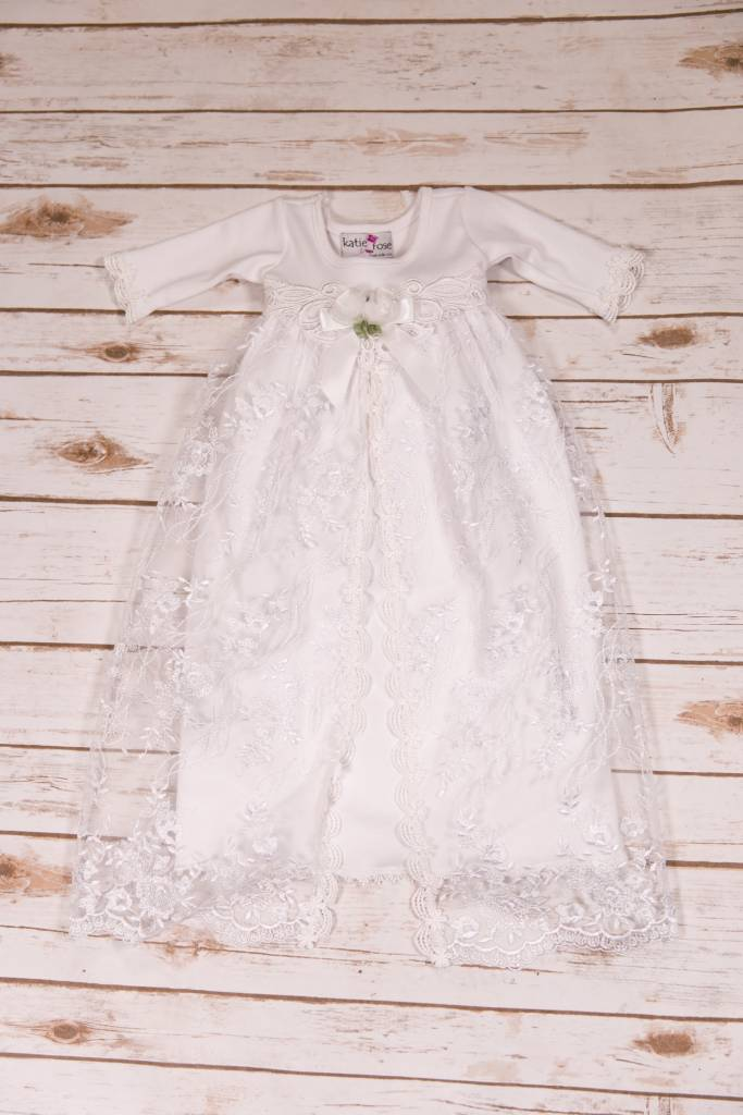eaa4535b0bd1 Katie Rose Alesandra White Lace And Rose Baby Sac - Peek-a-Bootique