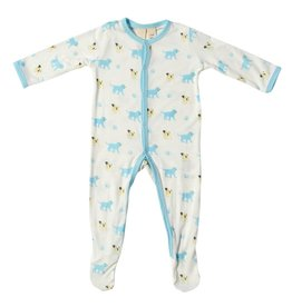 KYTE Bamboo Printed Footie in Wolf