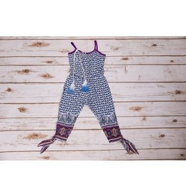 Peas and Queues Blue and Purple Yoko Romper