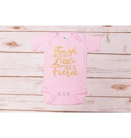 """Laughing Giraffe """"She May Be Little"""" Pink Onesie 0-3"""
