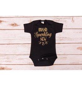 "Laughing Giraffe ""Brand Sparkling New"" Black Onesie 0-3M"