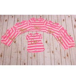 Jujubee Bowtique Neon Pink Striped Birthday Shirt