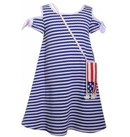 Bonnie Jean Blue Stripe Dress with American Flag Tassel Bag