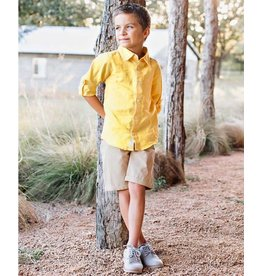 Rugged Butts Yellow Linen Blend Button Down Shirt