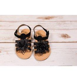 Petalia Black Sparkle Flower Sandal