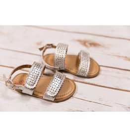 Rugged Bear Metallic Silver Eyelet Sandals