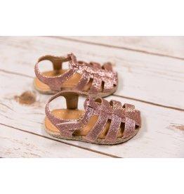 Laura Ashley Pink Glitter Braided Sandals