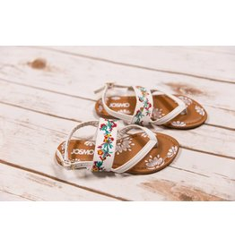 JoSmo White Floral Embroidered Sandals