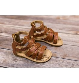 Laura Ashley Brown Sandals with Metallic Pink Accents