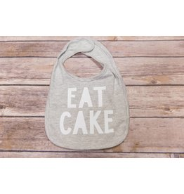 "Sweet Wink ""Eat Cake"" Gray and White Birthday Bib"