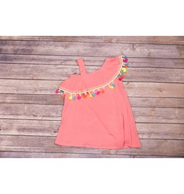 Hannah Bananna Peach Multi Colored Tassel Shirt