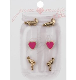 Jane Marie 3 Pair Earring: Gold Alligator, Heart, Flamingo Studs