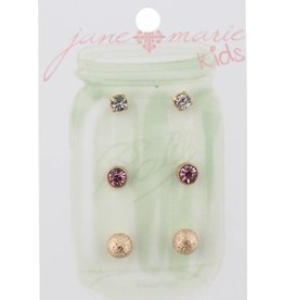Jane Marie 3 Pair Clear, Pink, Gold Ball Studs