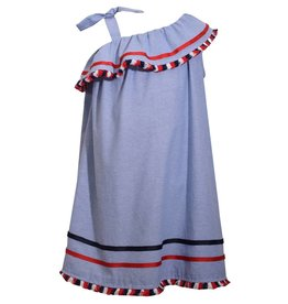 Bonnie Jean Red, White, and Blue Tie Shoulder Dress