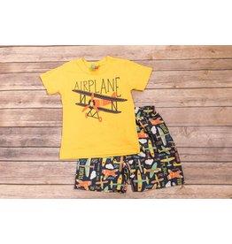 Yellow Airplane Short Set