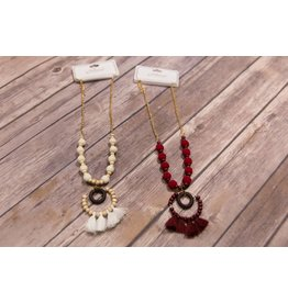Wooden Circle Tassel Necklace