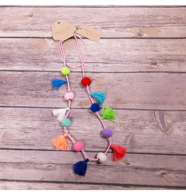 Bela & Nuni Multi Color Pom Pom & Tassel Necklace