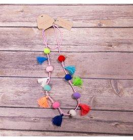 Bela & Nuni Multi Color Pom Pom & Tassel Necklace