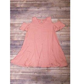 Pomelo Rose Dark Cold Shoulder Dress