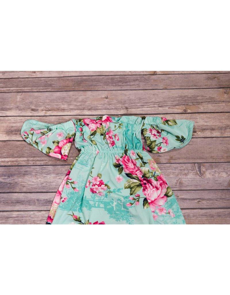 a88f21efded Mint Floral Off The Shoulder Dress - Peek-a-Bootique
