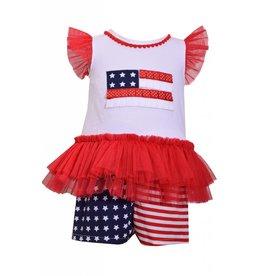 Bonnie Jean Tulle Tutu American Flag Pant Set