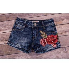 Mae Li Rose Flower Denim Shorts