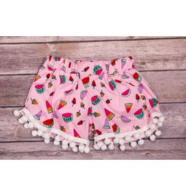 Pomelo Pink Fruit Pom Pom Shorts