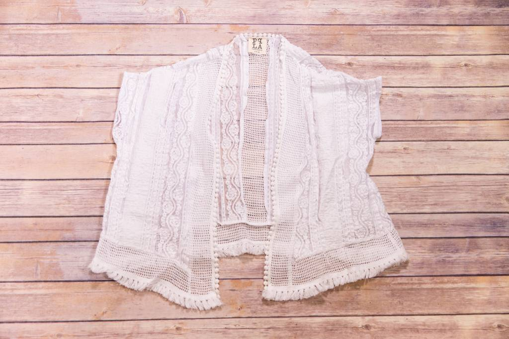 White Lace Cardigan Cover Up Peek A Bootique