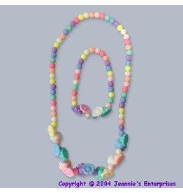 Lil Miss Accessories Pastel Floral Necklace & Bracelet