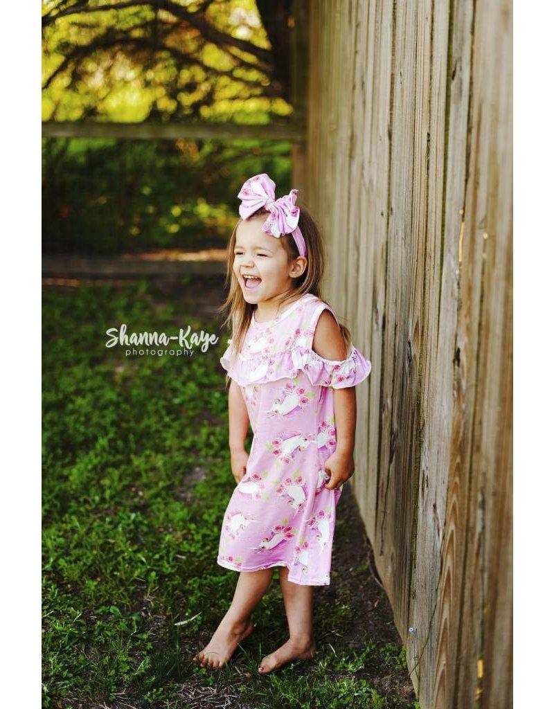 9839ceaac4d Unicorn Rose Flutter Cold Shoulder Dress and Headband - Peek-a ...