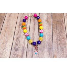 Pink, Blue Poppy Chunky Necklace