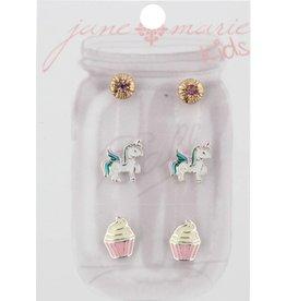 Jane Marie Pink Rhinestone, Unicorn, Cupcake Studs