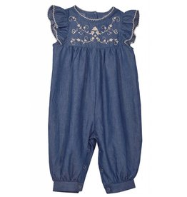 Bonnie Baby Navy Blue Embroidered Romper