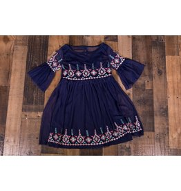 Jessica Simpson Navy Embroidered Dress