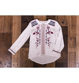 Silver Jeans White Embroidered Boho Tunic Top
