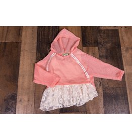 Little Mass Feather In The Wind Coral Knit Hoodie Tunic