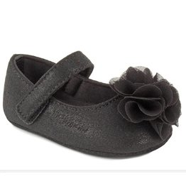 Baby Deer Black Shimmer Strap Shoe