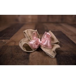 Forevher Designs Burlap Pearl Bow