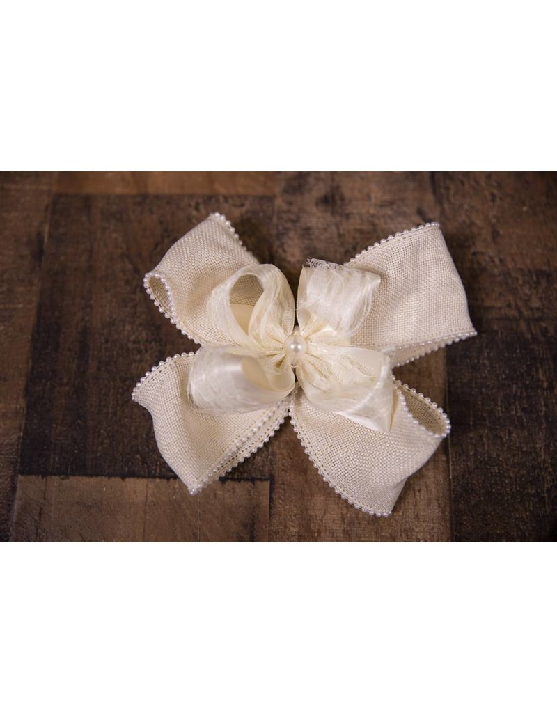Forevher Designs Vintage Cream Lace Ribbon Bow
