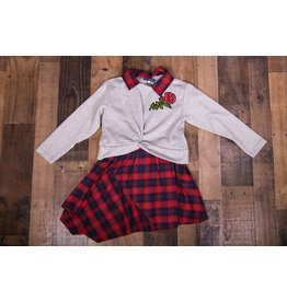 Truly Me Plaid Rose Dress