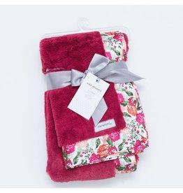 Saranoni Raspberry Lush Floral Satin Back Blanket