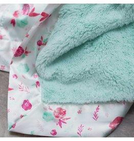 Saranoni Mint Lush Pastel Floral Satin Border Blanket
