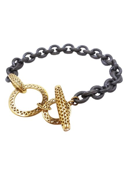 Oxidized & Gold Toggle Bracelet