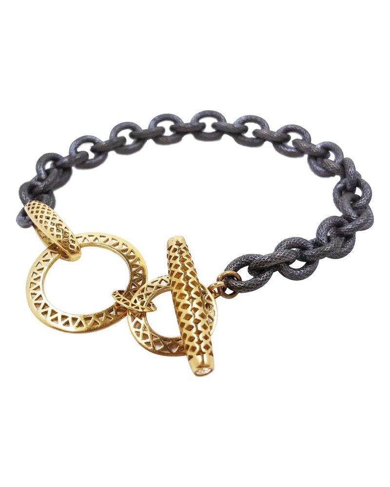 Oxidized & Gold Toggle Bracelet