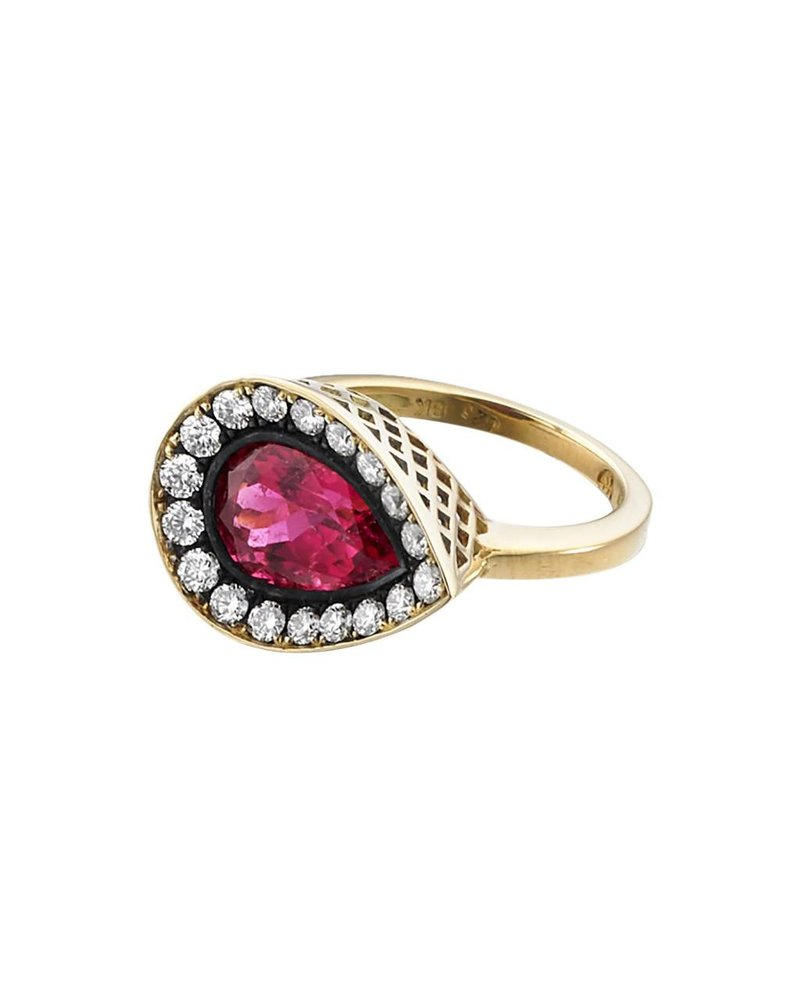 Rubellite Pear Shaped Pink Ring