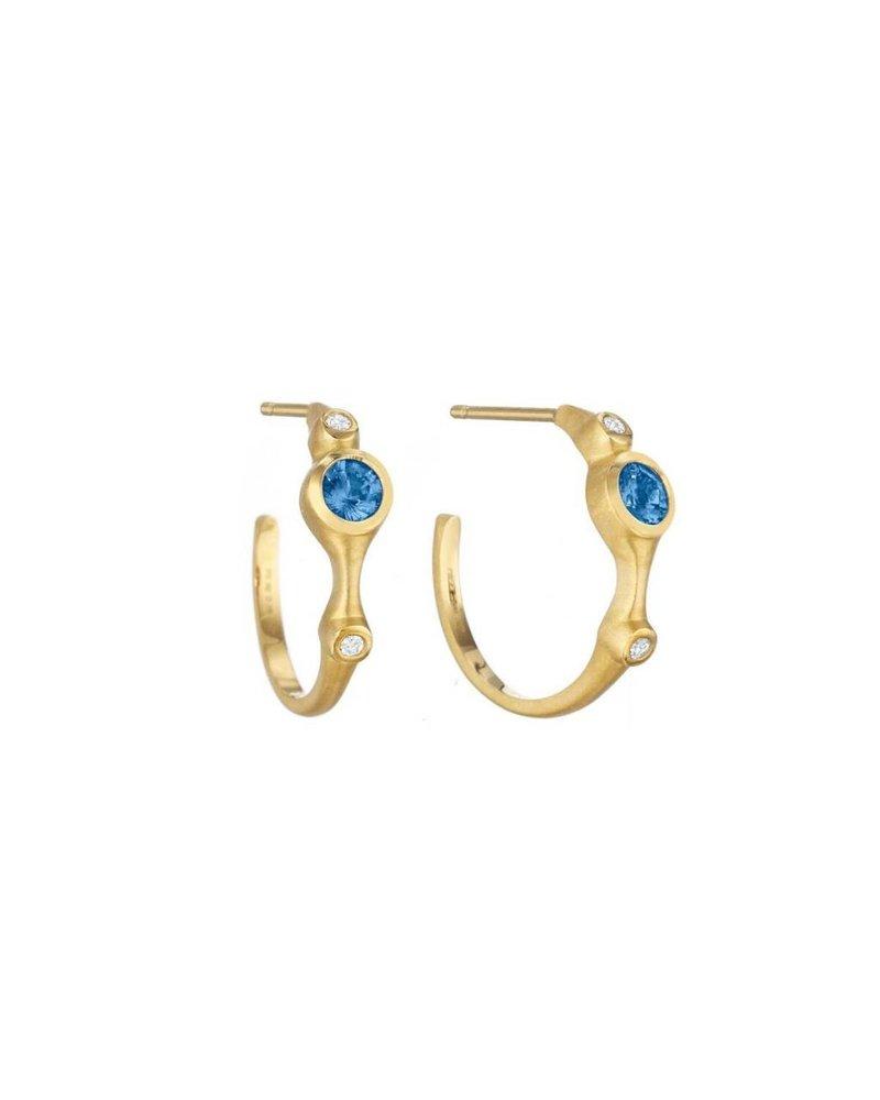 Carelle Blue Sapphire & Diamond Stack Hoops