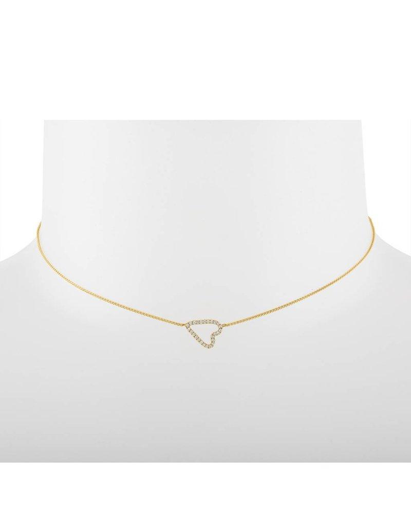 Jane Kaye Sideways Pave Diamond Heart Necklace