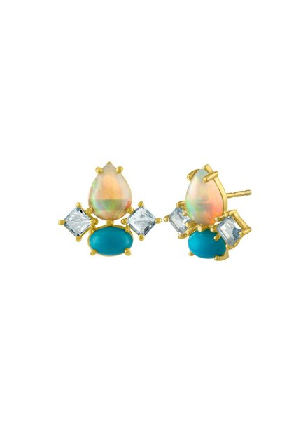Amy Glaswand Opal And Turquoise Studs