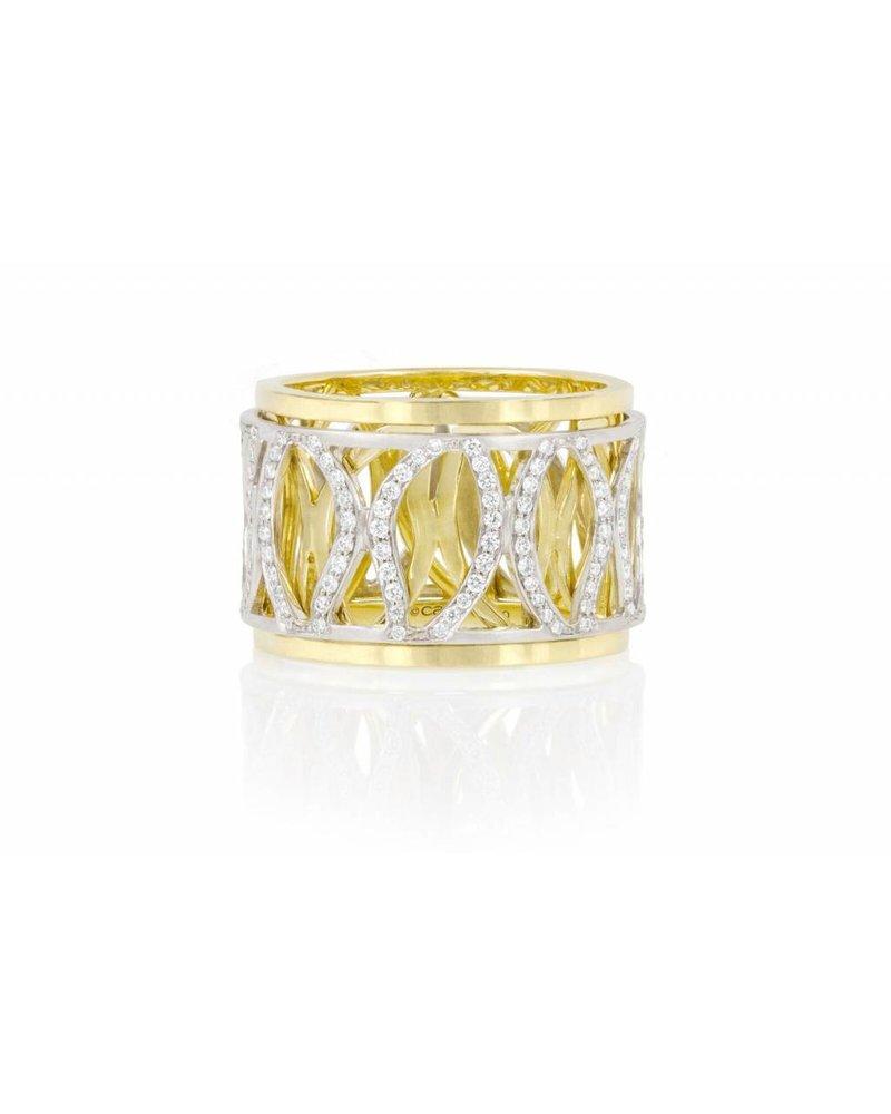 Carelle Athena Pave Diamond Leave Spinning Diamond Leaf Ring